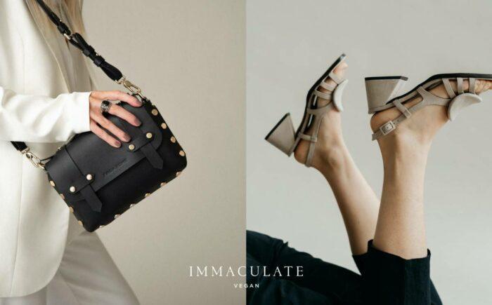 Sapatos e bolsa do marketplace vegano Immaculate Vegan